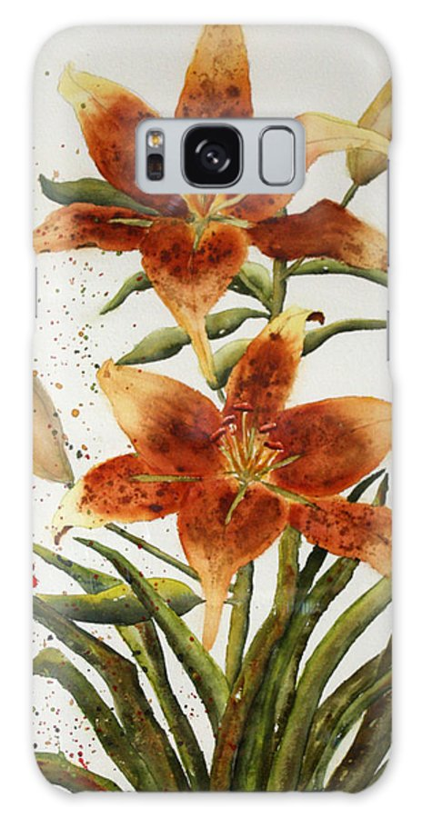 Lilies Galaxy Case featuring the painting Golden Lilies by Patricia Novack