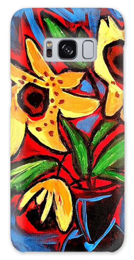 Floral Galaxy S8 Case featuring the painting Golden Sunflowers by Nikki Dalton