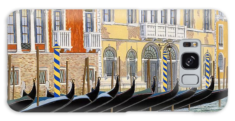 Landscape Galaxy S8 Case featuring the painting Gondolas On The Grand Canal by David Hinchen