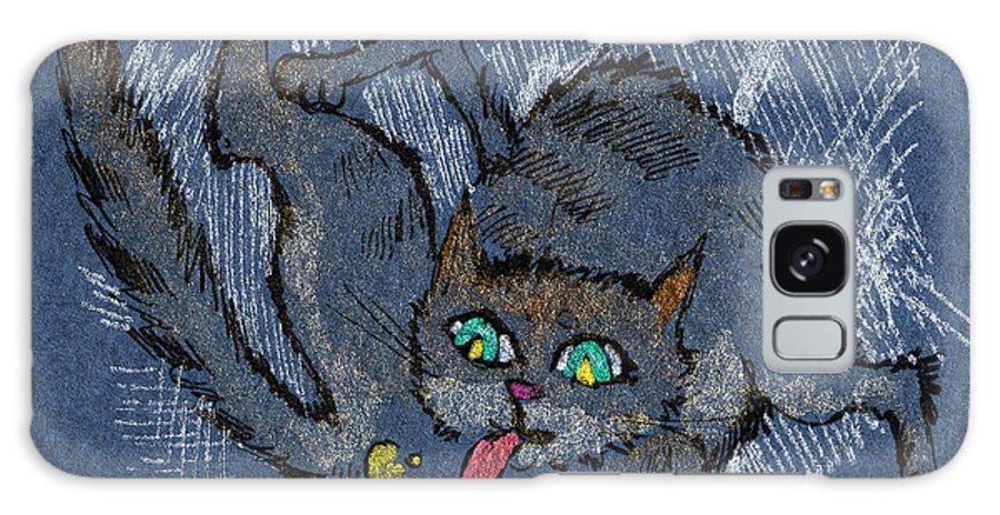 Cat Galaxy S8 Case featuring the drawing Good Hygiene Is Essential by Angel Ciesniarska