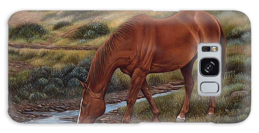 Horses Galaxy Case featuring the painting Good'ol Red by Ricardo Chavez-Mendez
