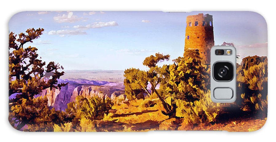 Abyss Galaxy S8 Case featuring the painting Grand Canyon National Park Golden Hour Watchtower by Bob and Nadine Johnston