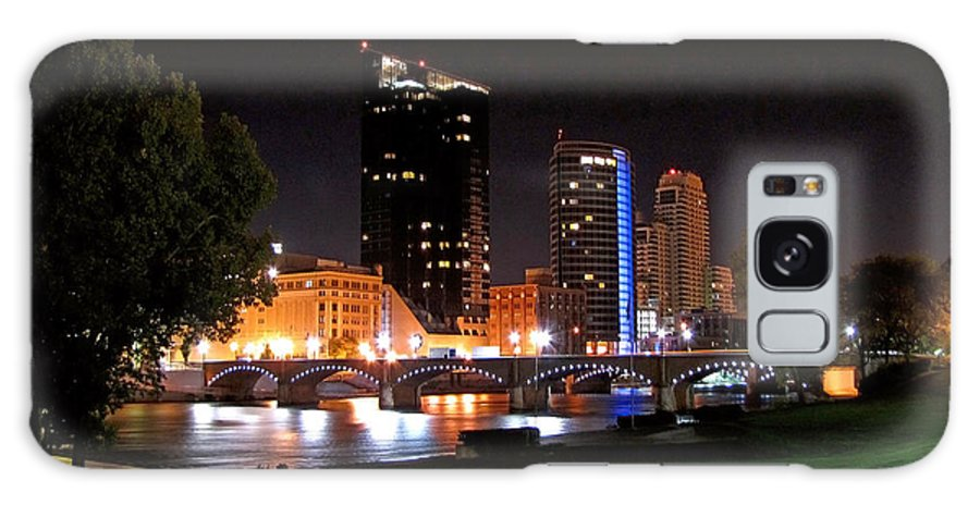 Grand Rapids Galaxy S8 Case featuring the digital art Grand Rapids Michigan At Dusk by Debra Miller