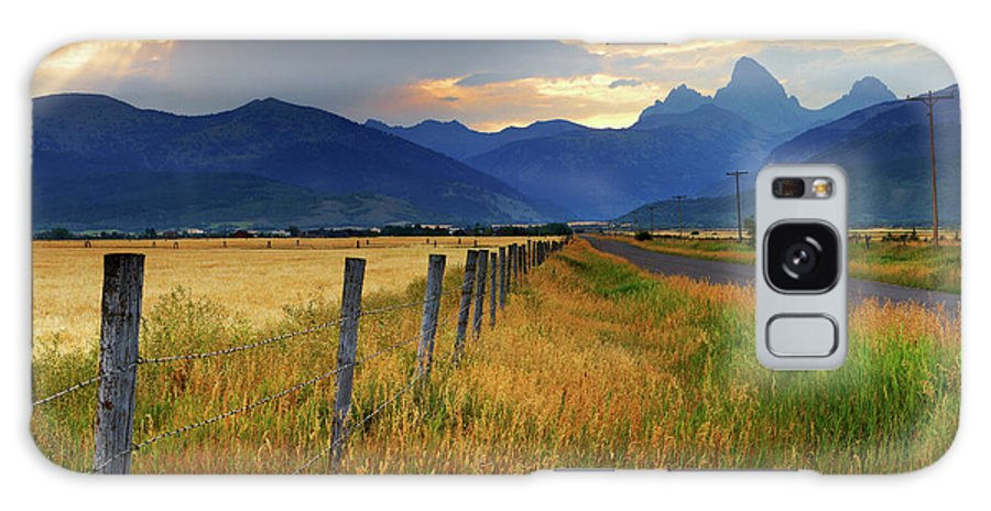 Tranquility Galaxy Case featuring the photograph Grand Tetons At Sunrise From Driggs by Anna Gorin