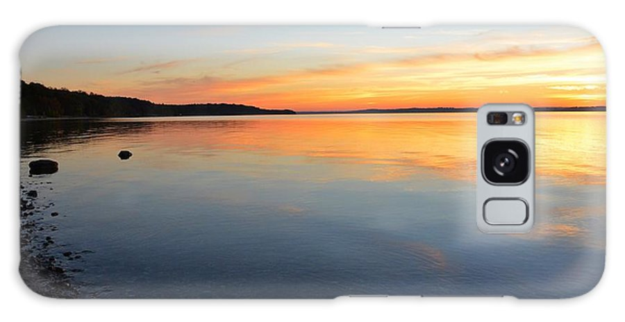 Grand Traverse Bay Sunset Galaxy S8 Case featuring the photograph Grand Traverse Bay Sunset by Dave Zuker