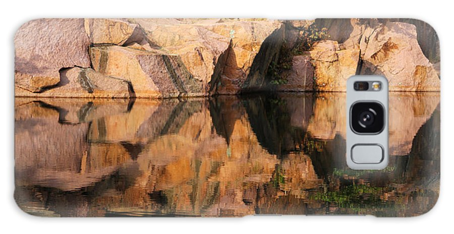 Granite Galaxy S8 Case featuring the photograph Granite Cliffs And Reflections In A Quarry Lake by Greg Matchick