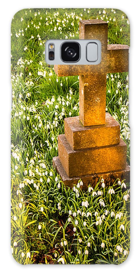 Bell Galaxy S8 Case featuring the photograph Gravestone With Snowdrops by Mark Llewellyn