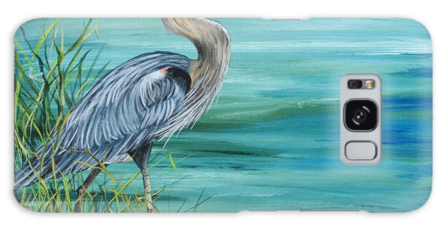Blue Heron Galaxy S8 Case featuring the painting Great Blue Heron-2a by Jean Plout