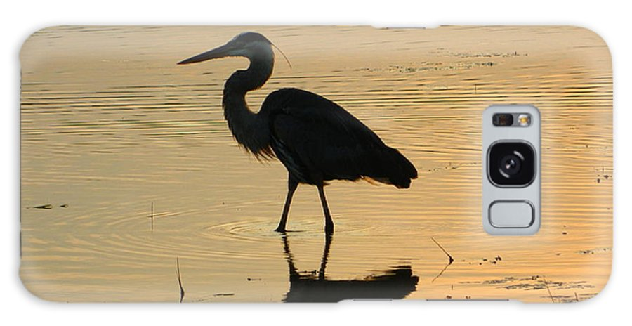 Great Galaxy S8 Case featuring the photograph Great Blue Heron Reflected by Nancy Spirakus