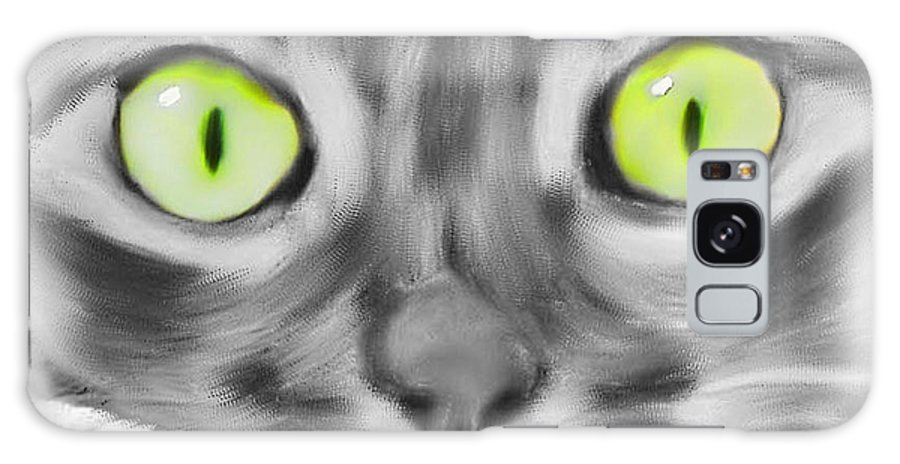 Cat Galaxy S8 Case featuring the digital art Green Eyes by Deborah Boyd