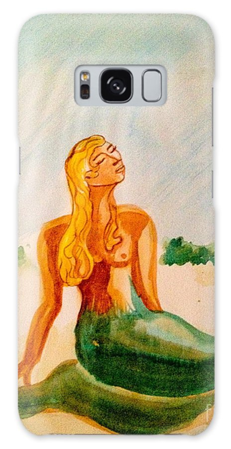 Watercolor Galaxy S8 Case featuring the painting Green Mermaid by Diane Phelps