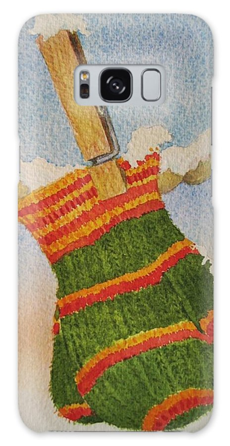 Christmas Galaxy S8 Case featuring the painting Green Mittens by Mary Ellen Mueller Legault