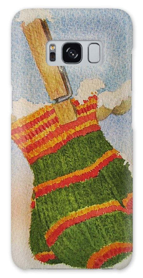 Children Galaxy Case featuring the painting Green Mittens by Mary Ellen Mueller Legault