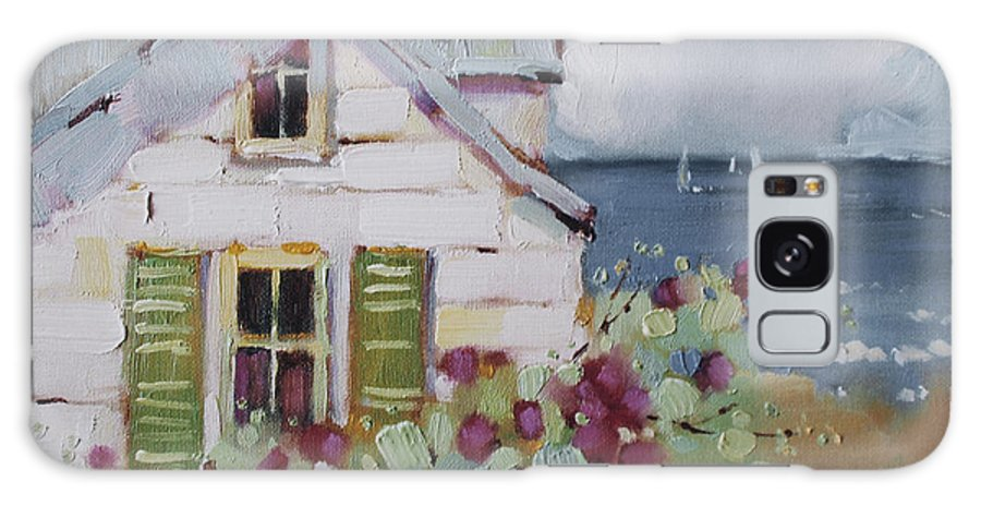 Print Galaxy Case featuring the painting Green Nantucket Shutters by Joyce Hicks
