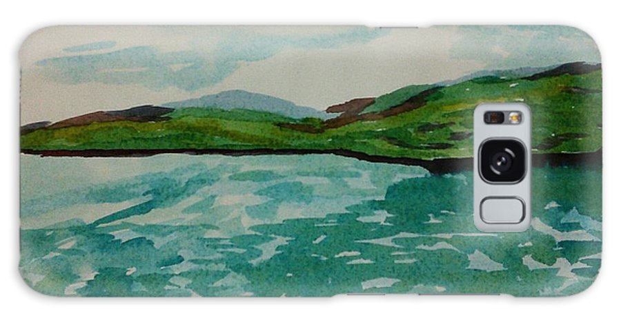 Lake Galaxy S8 Case featuring the painting Green Pastures by Vineeth Menon