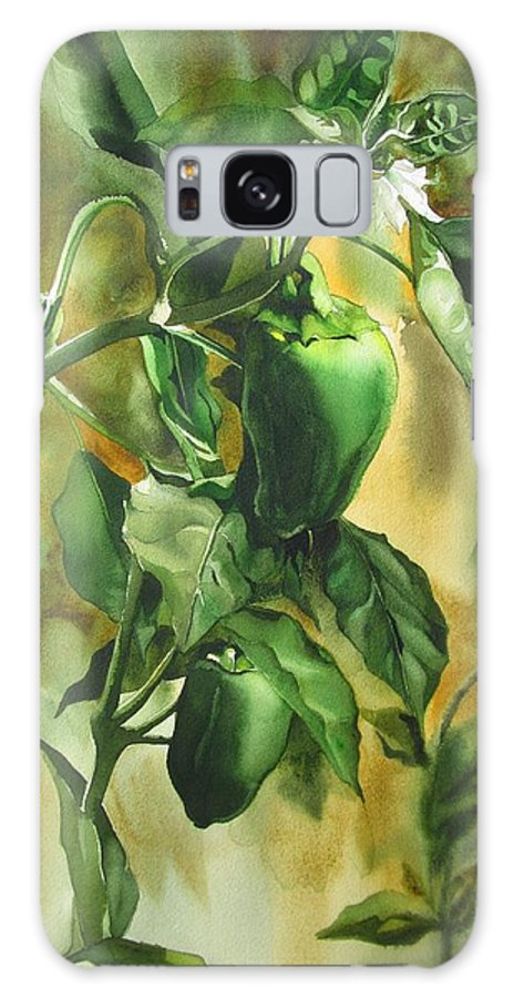 Green Galaxy S8 Case featuring the painting Green Peppers From Our Garden by Alfred Ng