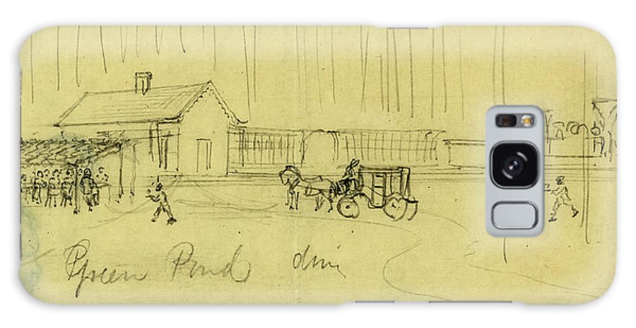 Green Pond Drive Galaxy S8 Case featuring the drawing Green Pond Drive, Drawing, 1862-1865, By Alfred R Waud by Quint Lox