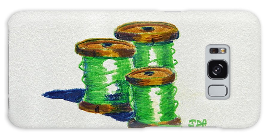 Color Pencil Galaxy S8 Case featuring the painting Green Spools Of Thread by Joseph Hawkins
