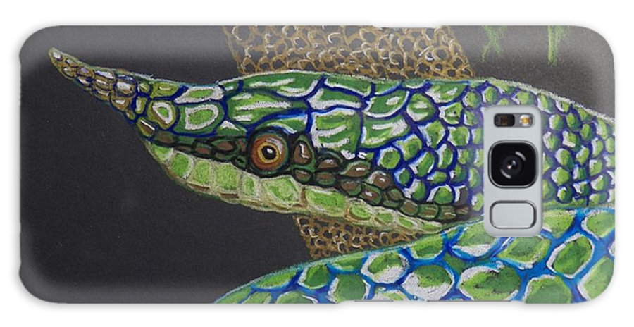 Green Tree Snake Galaxy S8 Case featuring the painting Green Tree Snake by Richard Goohs