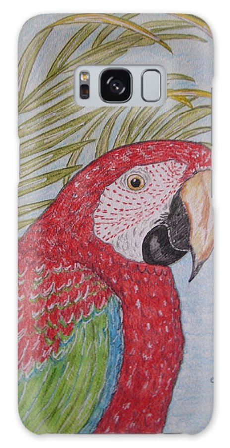 Green Wing Macaw Galaxy Case featuring the painting Green Winged Macaw by Kathy Marrs Chandler