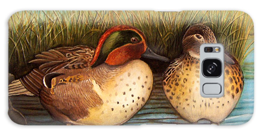 Rick Huotari Galaxy S8 Case featuring the painting Green Winged Teal by Rick Huotari
