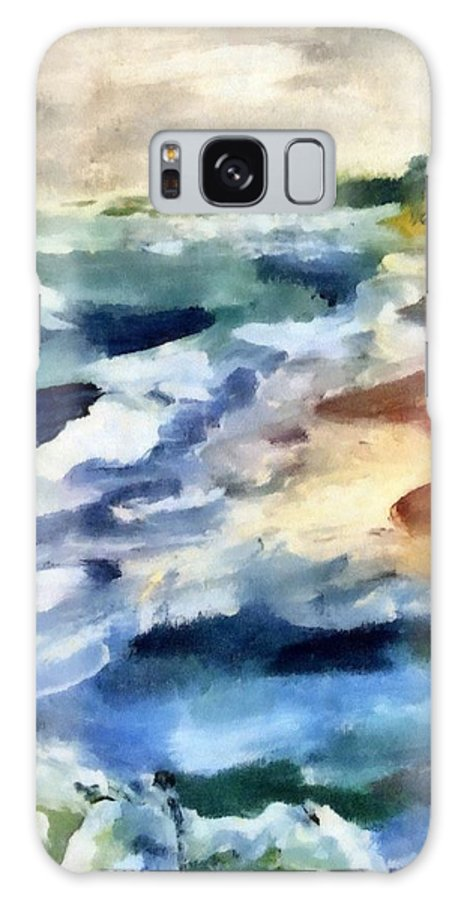 Beach Galaxy S8 Case featuring the painting Grey Sky Day On The Lake by Michelle Calkins