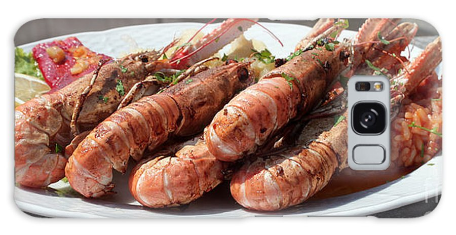 Tourism Galaxy S8 Case featuring the photograph Grilled Prawns Croatia by Ros Drinkwater