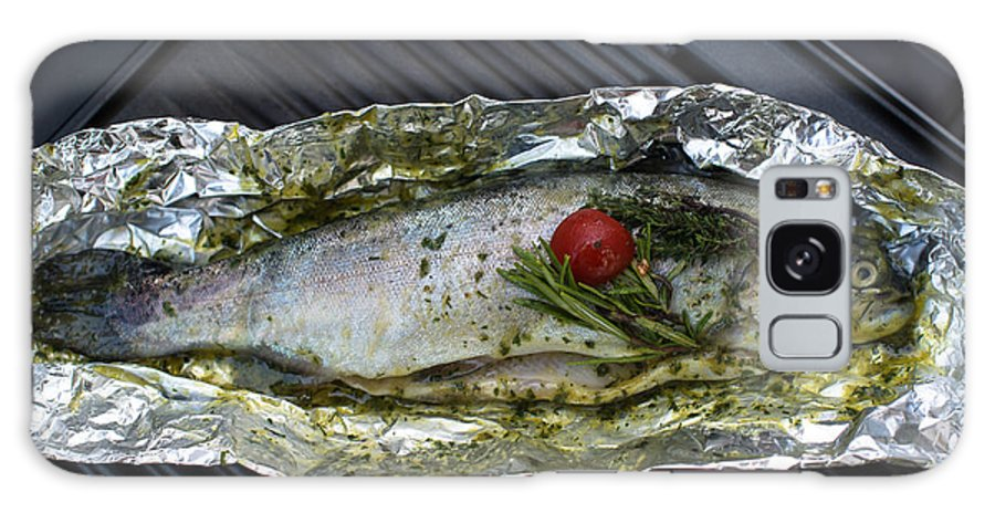 Fish Galaxy S8 Case featuring the photograph Grilled Trout On Barbecue by Frank Gaertner