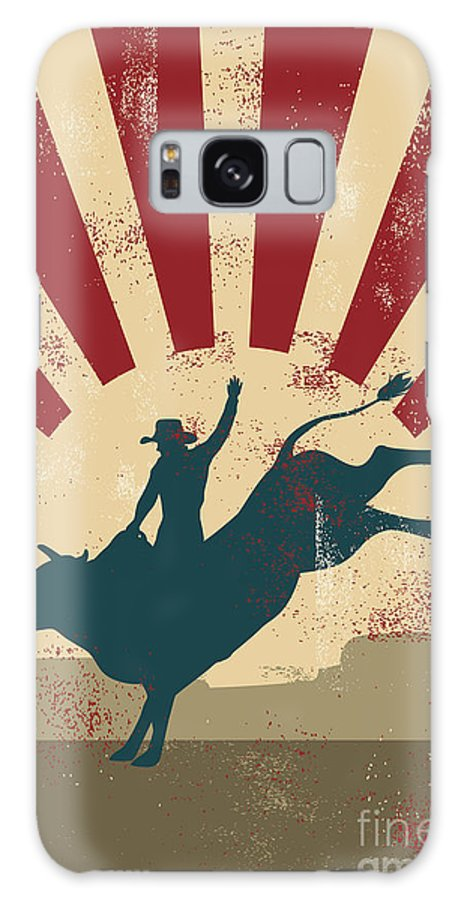 Country Galaxy S8 Case featuring the digital art Grunge Rodeo Poster,vector by Seita