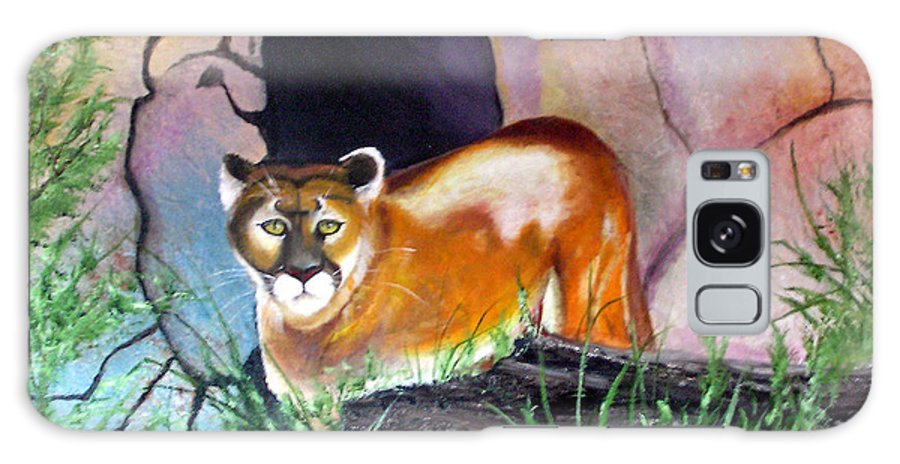 Big Cats Galaxy Case featuring the painting Guarding The Cave by Lora Duguay