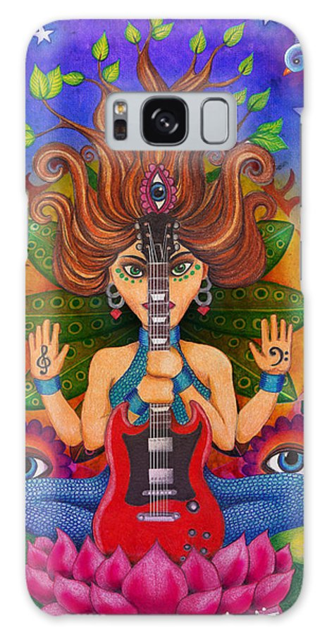 Guitar Galaxy S8 Case featuring the drawing Guitar Goddess by Julie Oakes