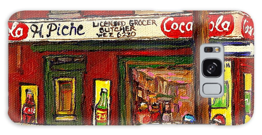 Piche's Corner Grocery Store Galaxy S8 Case featuring the painting H. Piche Grocery - Goosevillage -paintings Of Montreal History- Neighborhood Boys Play Street Hockey by Carole Spandau