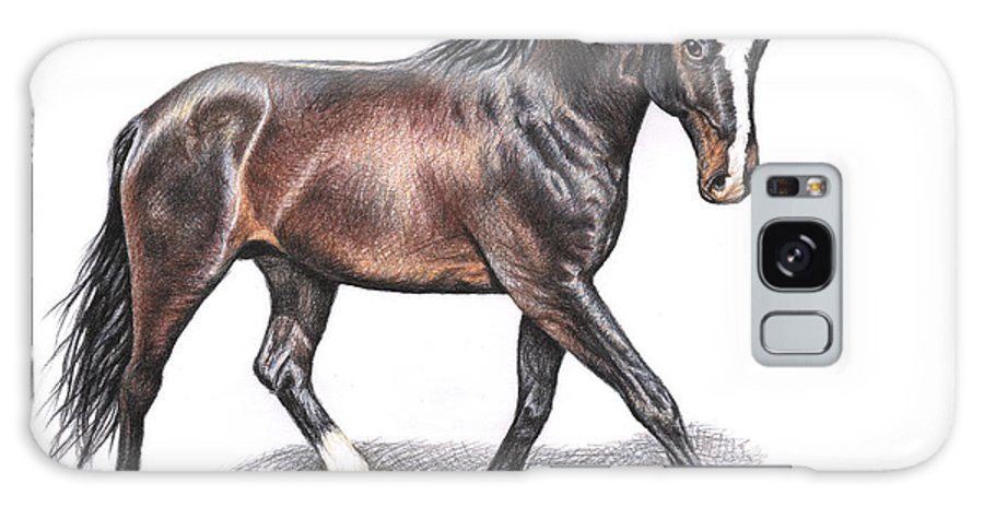 Horse Galaxy S8 Case featuring the drawing Hannoveraner by Nicole Zeug