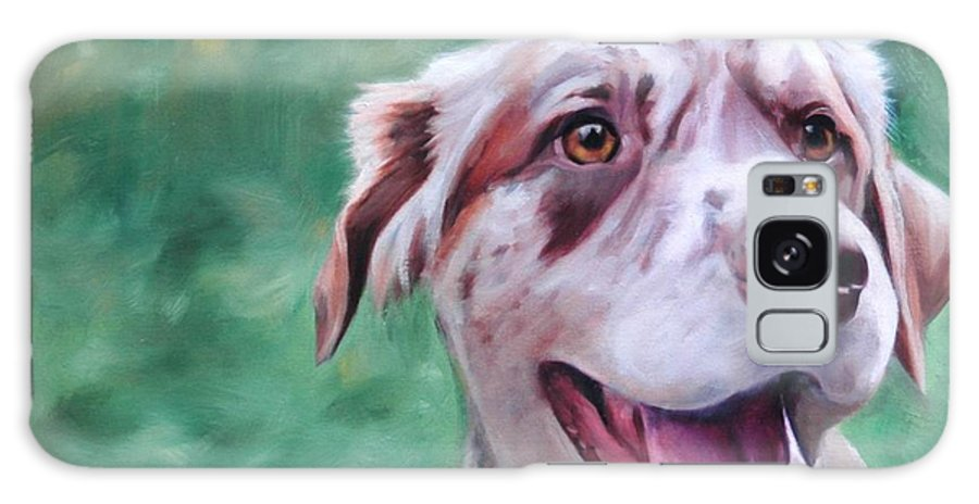 Dog Galaxy S8 Case featuring the painting Happy Dog by Pet Whimsy Portraits