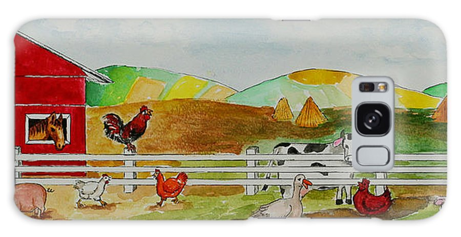 Farm Galaxy S8 Case featuring the painting Happy Farm by Janis Lee Colon