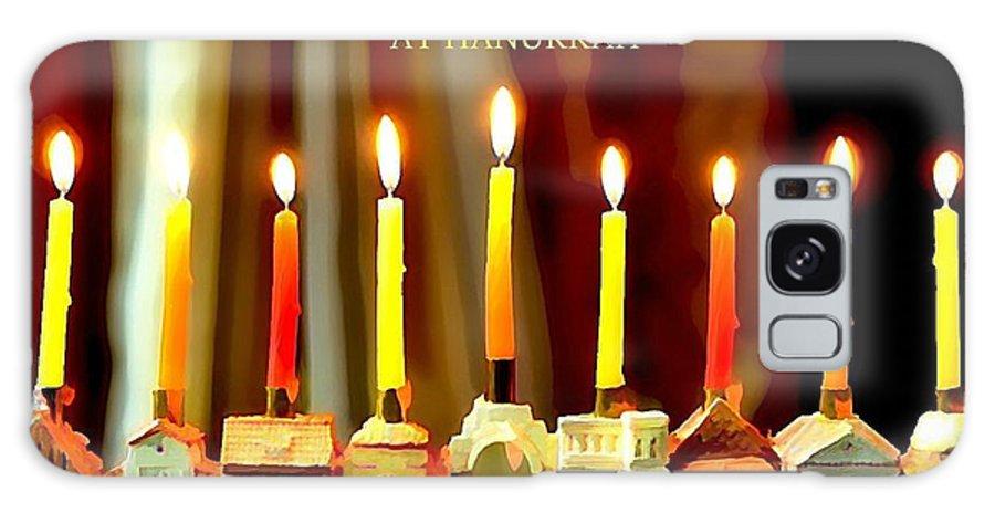 Hanukkah Greeting Galaxy S8 Case featuring the photograph Happy Hanukkah 5 by Fraida Gutovich