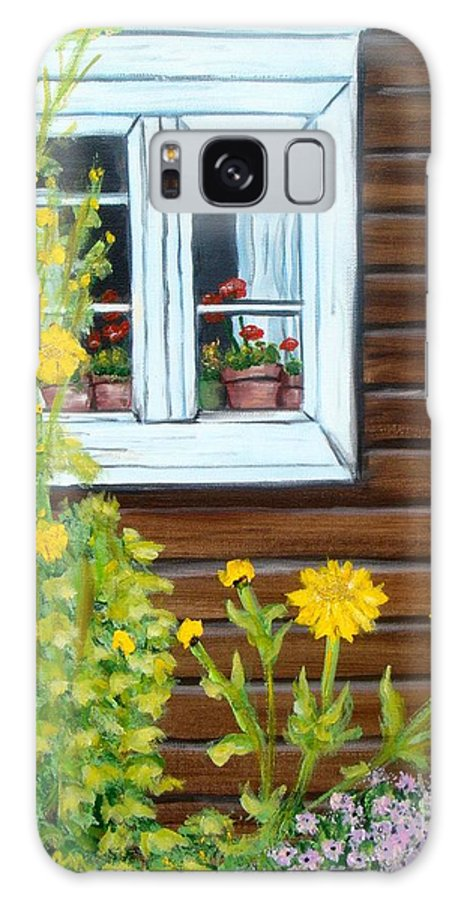 Window Galaxy S8 Case featuring the painting Happy Homestead by Laurie Morgan