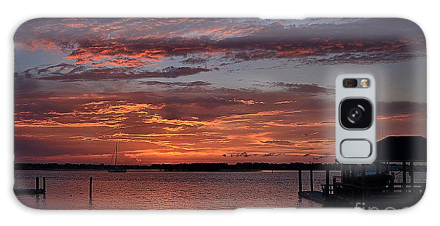 Sunset Galaxy S8 Case featuring the photograph Harbor Side Sunset At Boat Dock by Amy Lucid