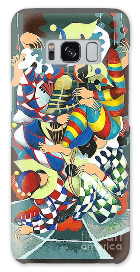 Canvas Prints Galaxy S8 Case featuring the painting Harlequins Acting Weird - Why?... by Elisabeta Hermann
