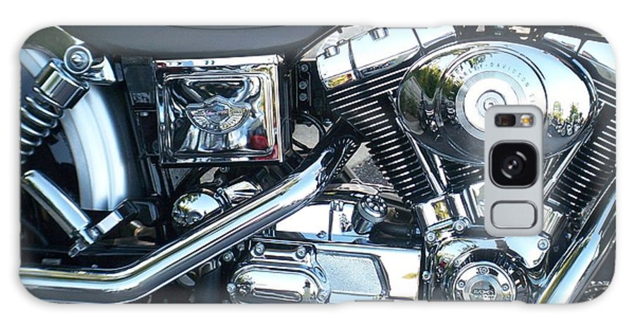 Motorcycles Galaxy Case featuring the photograph Harley Black And Silver Sideview by Anita Burgermeister
