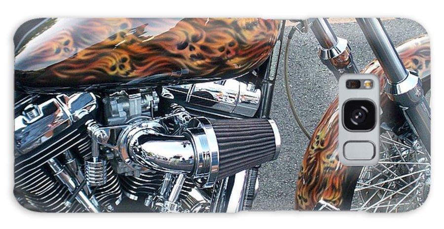 Motorcycles Galaxy Case featuring the photograph Harley Close-up Skull Flame by Anita Burgermeister