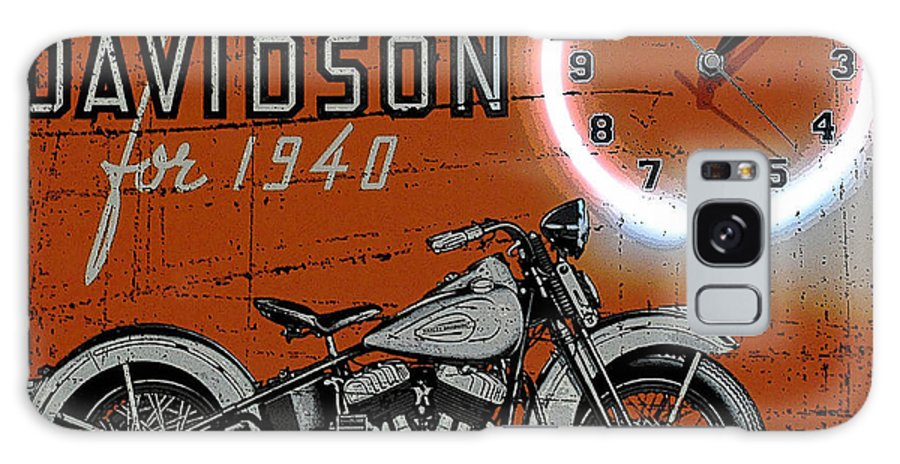 Ad Posters Mixed Media Posters Galaxy S8 Case featuring the mixed media Harley Davidson 1940s Sign by Marvin Blaine