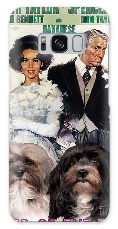 Havanese Galaxy S8 Case featuring the painting Havanese Art - Father Of The Bride Movie Poster by Sandra Sij