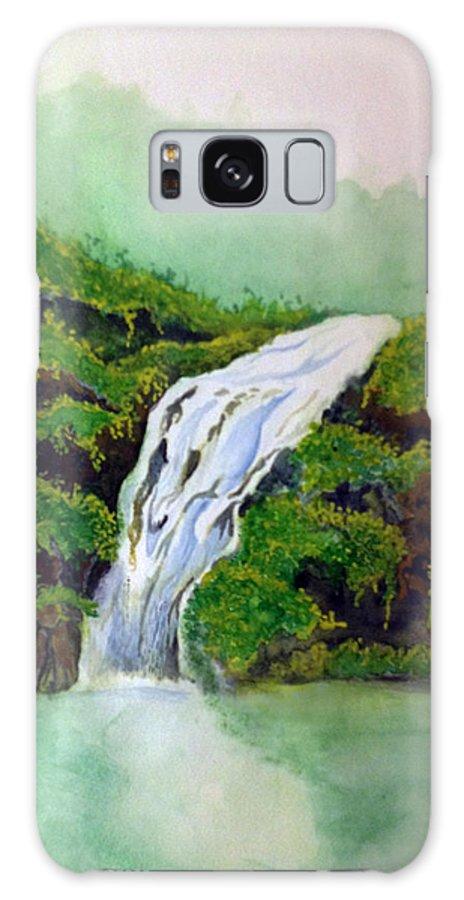 Rick Huotari Galaxy Case featuring the painting Hawaiian Waterfall by Rick Huotari