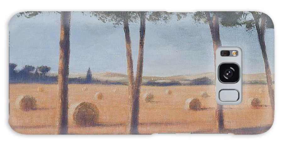 Hay Galaxy S8 Case featuring the photograph Hay Bales And Pines, Pienza, 2012 Acrylic On Canvas by Lincoln Seligman
