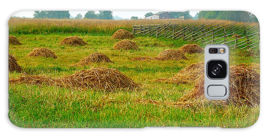 Hay Galaxy S8 Case featuring the photograph Haystacks In Field by Eduard Isakov
