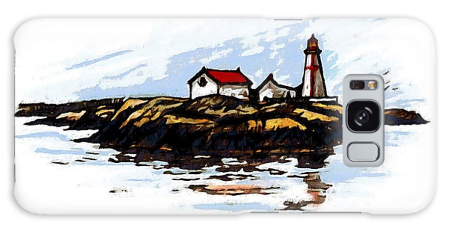 Light Galaxy S8 Case featuring the mixed media Head Harbour Lighthouse - Field Sketch by Art MacKay