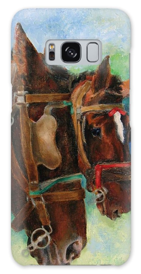 Horse Galaxy S8 Case featuring the painting Head Study The New Team by Frieda Bruck