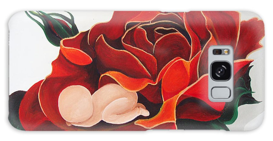 Healing Painting Galaxy S8 Case featuring the painting Healing Painting Baby Sleeping In A Rose by Catt Kyriacou
