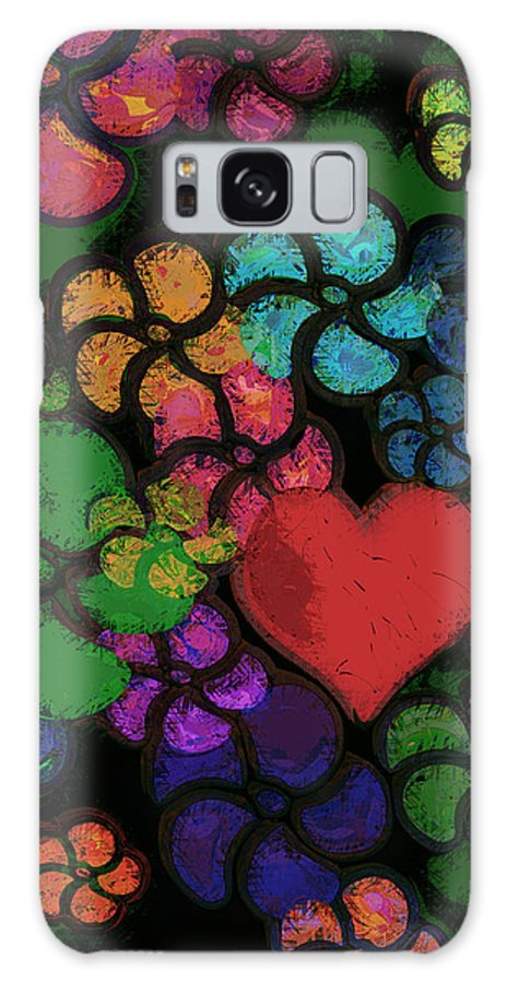 Heart Galaxy S8 Case featuring the digital art Heart In Flowers by Vicki Podesta